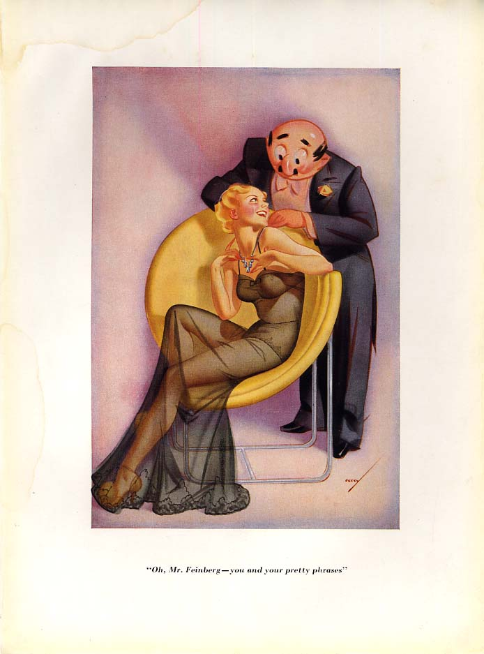 George Petty Esquire cartoon print 1930s You and your pretty phrases