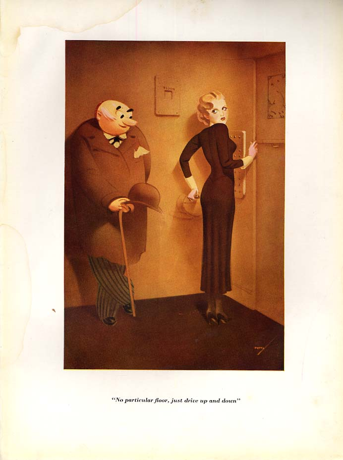 Image for George Petty Esquire cartoon print 1934 No particular floor just drive up & down