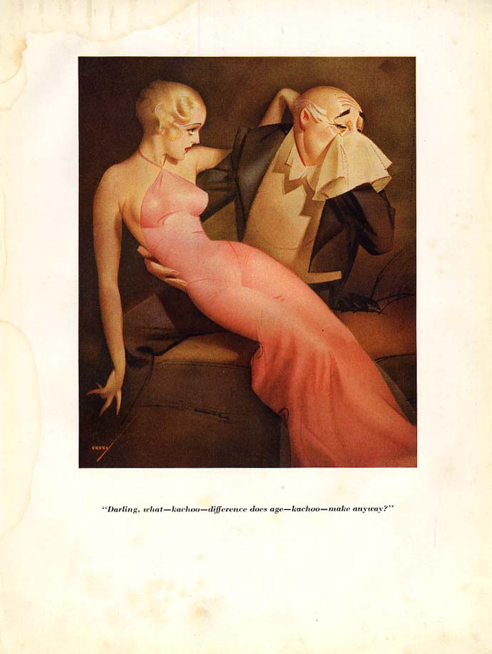 George Petty Esquire cartoon print 1933 Kachoo - what difference does age make?