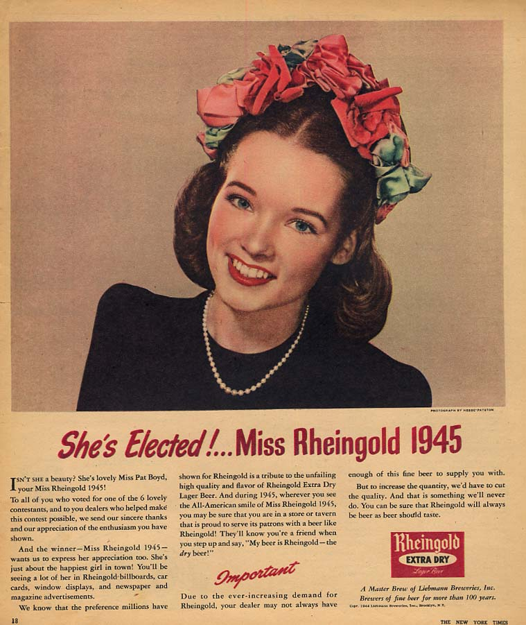 1945 Miss Rheingold Beer Pat Boyd She's Elected! Ad 1944 NYT