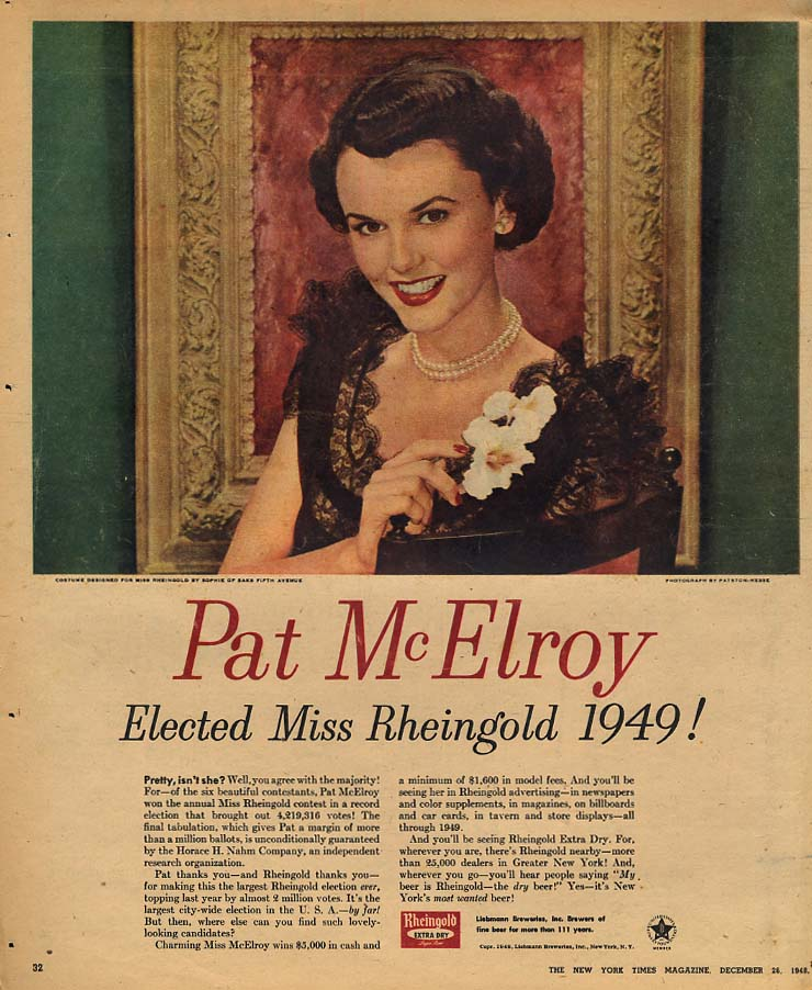 1949 Miss Rheingold Beer Pat McElroy Elected! Ad NYT