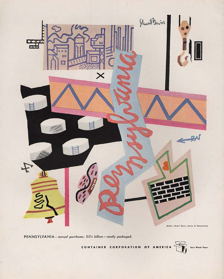 Contained Corporation of America : Pittsburgh by Stuart Davis ad 1946 F