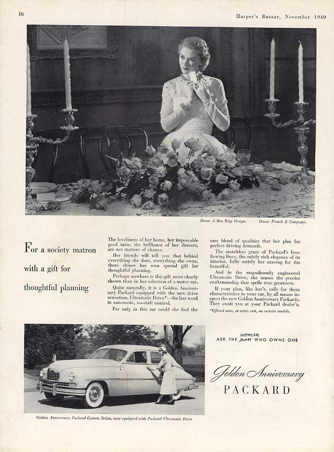 For a society matron with a gift for thoughtful planning Packard ad 1950 HBZ