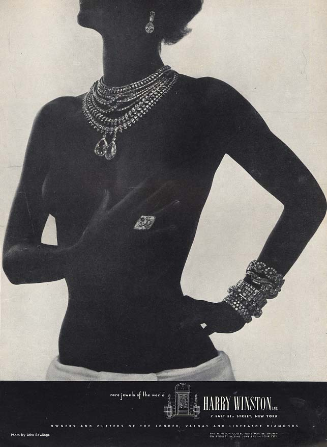Harry Winston Rare Jewels of the World ad 1949 topless nude HBZ 11