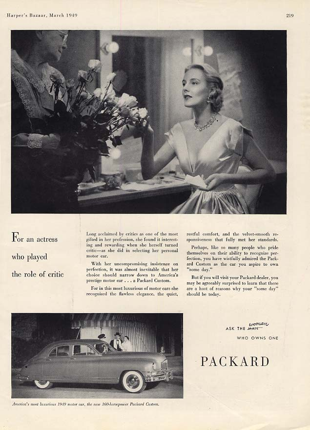 For an actress who played the role of critic: Packard Custom ad 1949 HBZ