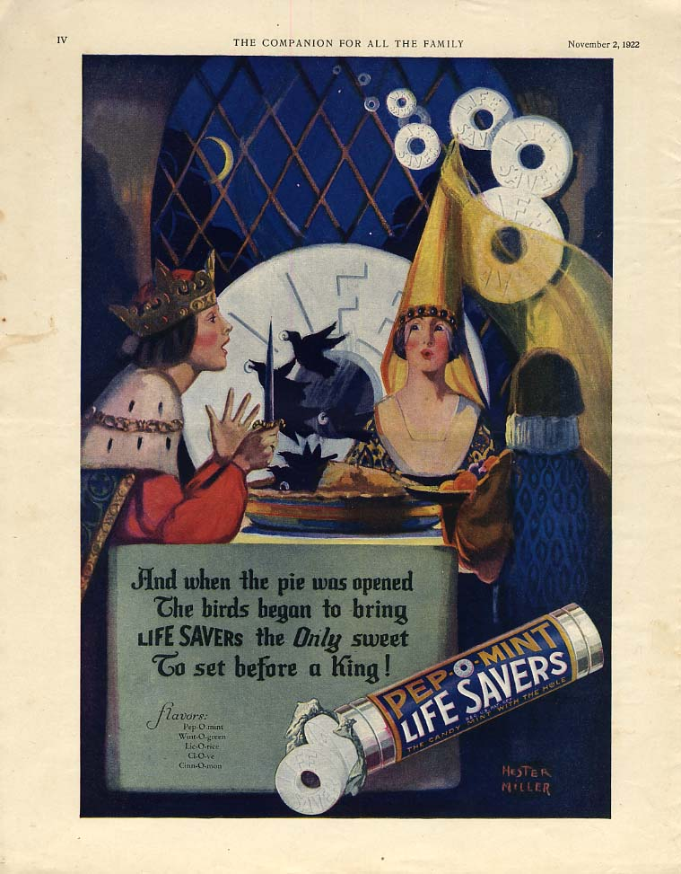 And when the pie was opened the birds began to bring Life Savers ad 1922 YC
