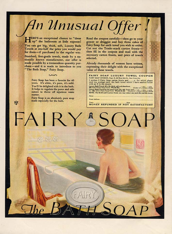 An Unusual Offer! Fairy Soap ad nude in the tub 1925 MP