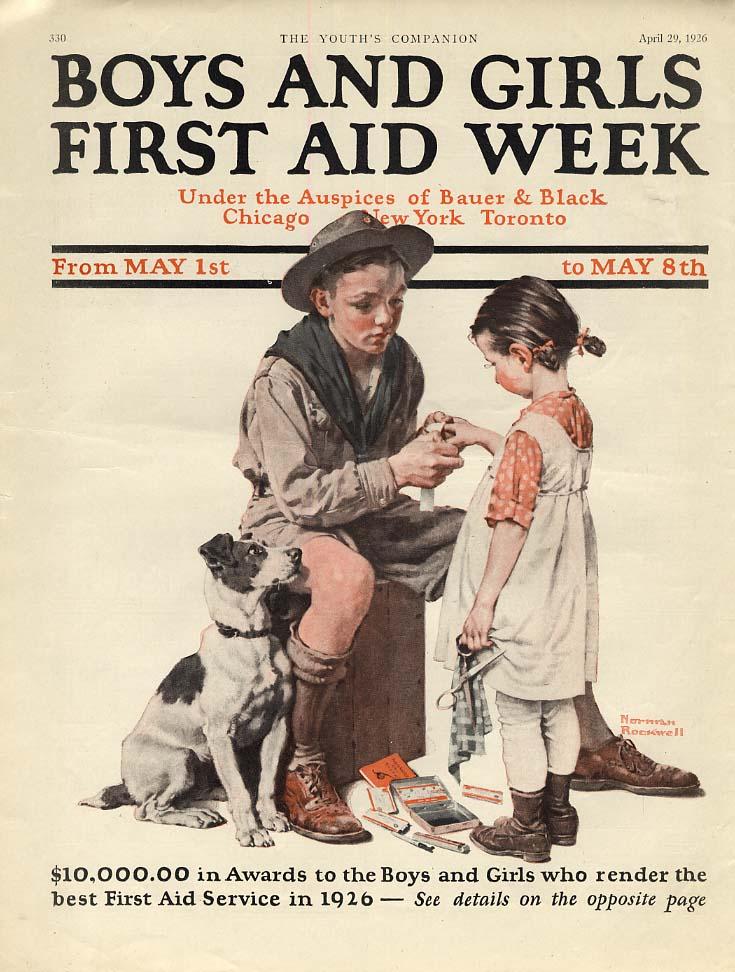 Boys & Girls First Aid week ad 1926 Norman Rockwell