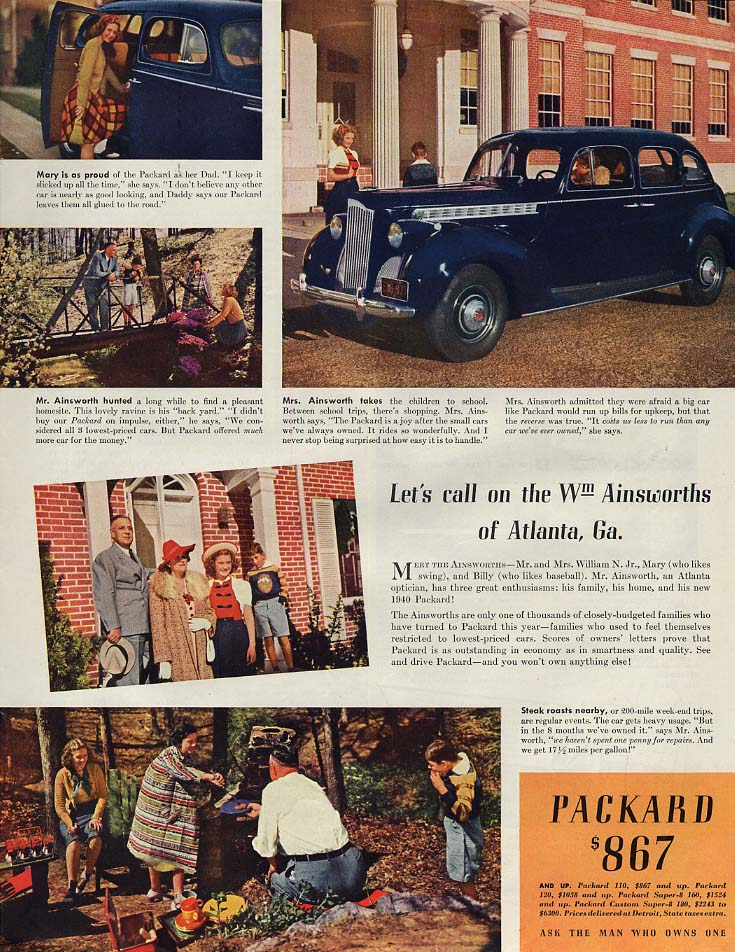 Image for Let's call on the Wm Ainsworths of Atlanta Ga: Packard ad 1940 SEP