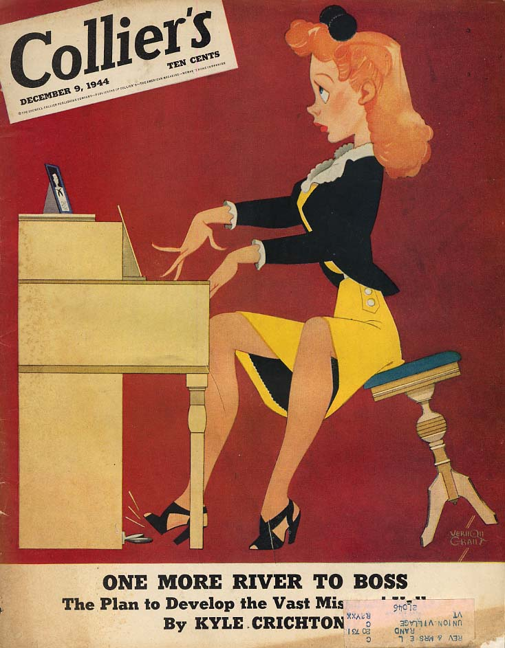 COLLIER'S COVER 1944 redhead at the piano by Vernon Grant