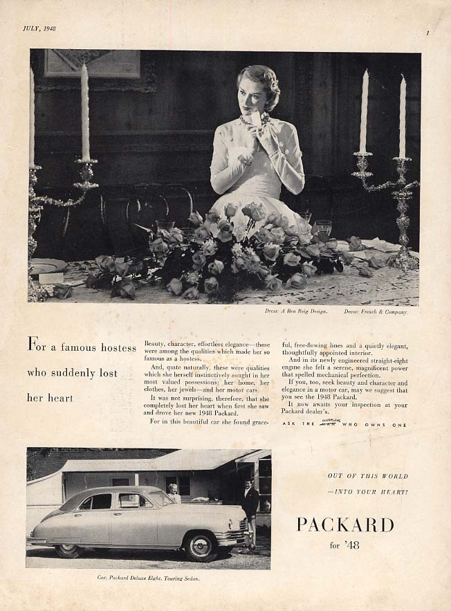 For a famous hostess who suddenly lost her heart Packard Deluxe 8 ad 1948 Vog