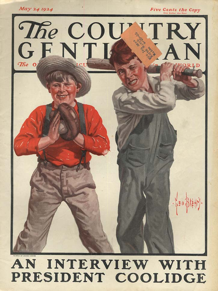 COUNTRY GENTLEMAN COVER 1924 Boy strikes out at baseball by Ned Brehm