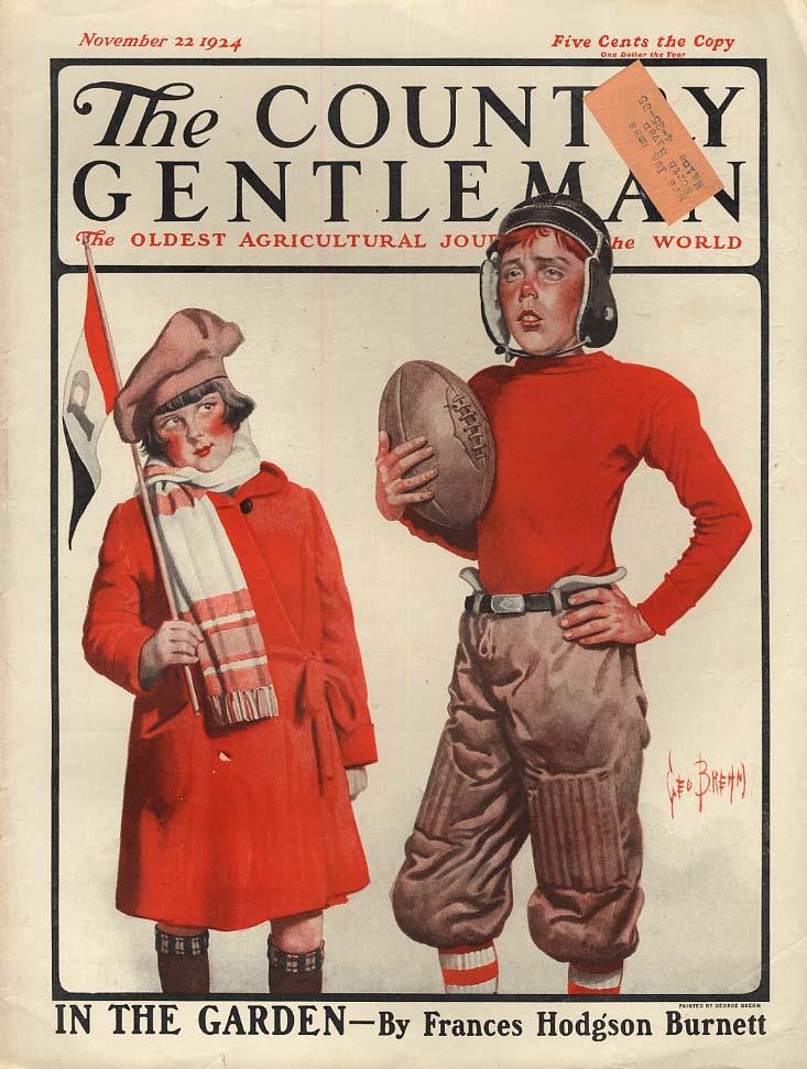 COUNTRY GENTLEMAN COVER 1924 cheerleader admires boy footballer by Ned Brehm