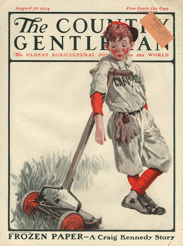 COUNTRY GENTLEMAN COVER 1924 boy prefers baseball to mowing lawn by MacDonall