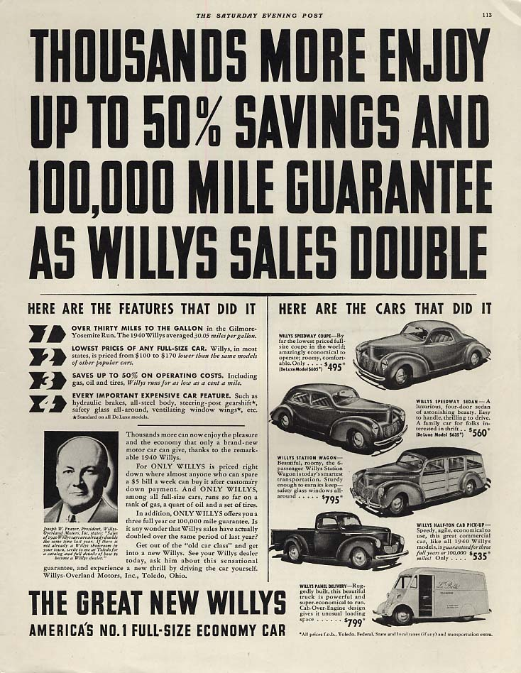 50% Savings 100,000 Miles Willys Speedway Wagon Pick-up & Panel Delivery ad 1940