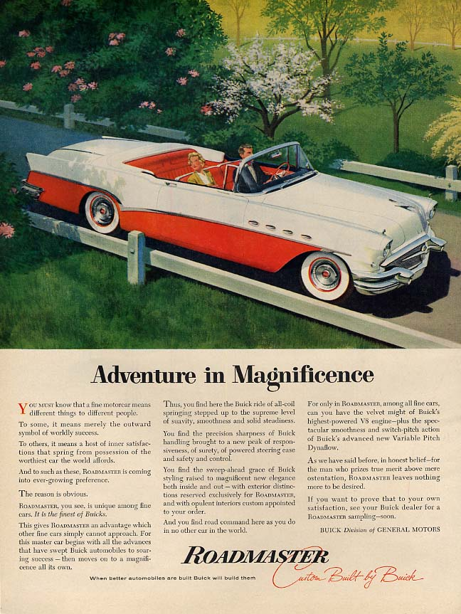 Adventure in Magnificence - Buick Roadmaster Convertible ad 1956 BHG