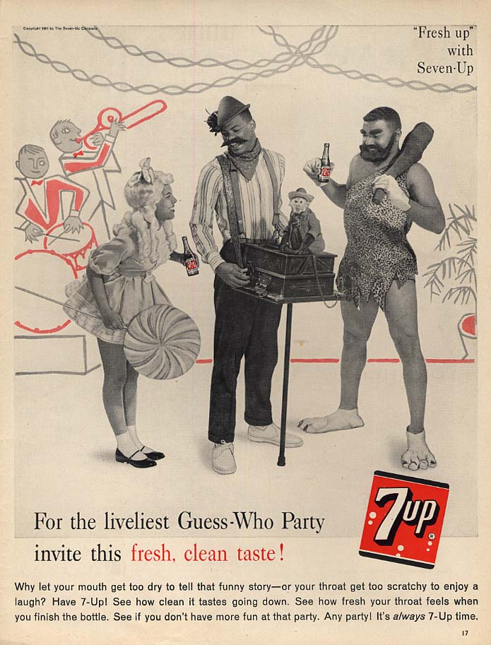 For the liveliest Guess-Who Party Seven-Up ad 1961 black caveman & organ grinder