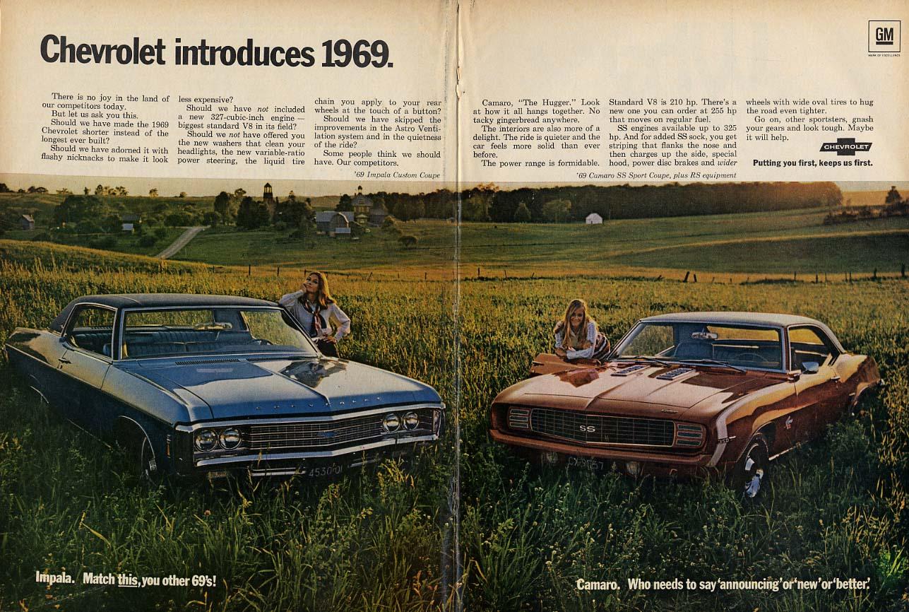 Chevrolet introduces 1969: Impala 2-door hardtop & Camaro SS RS ad T