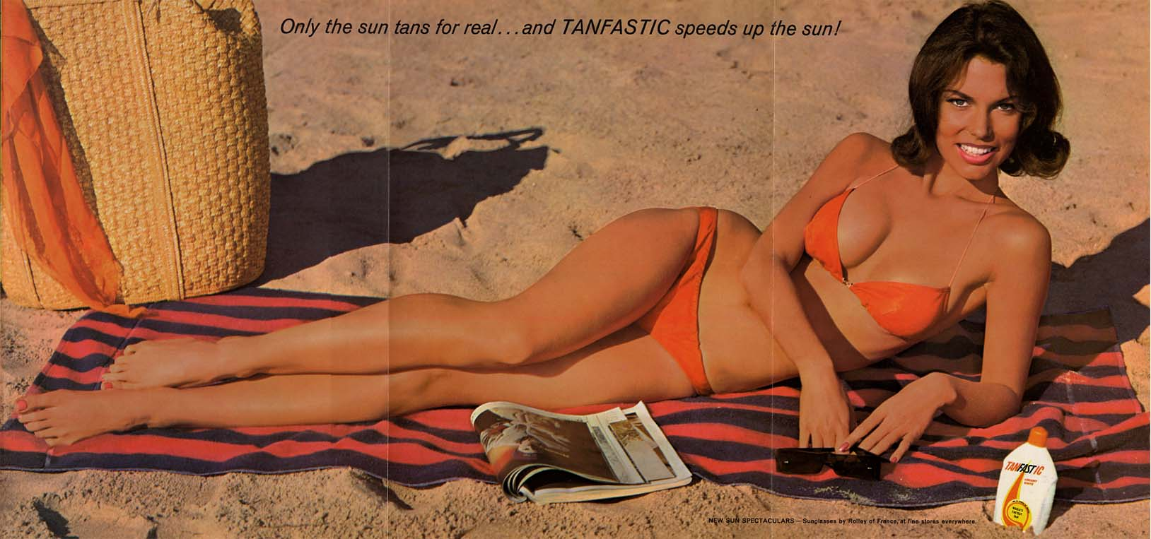Only sun tans for real & Tanfastic speeds up the sun! ad 1961 Pby