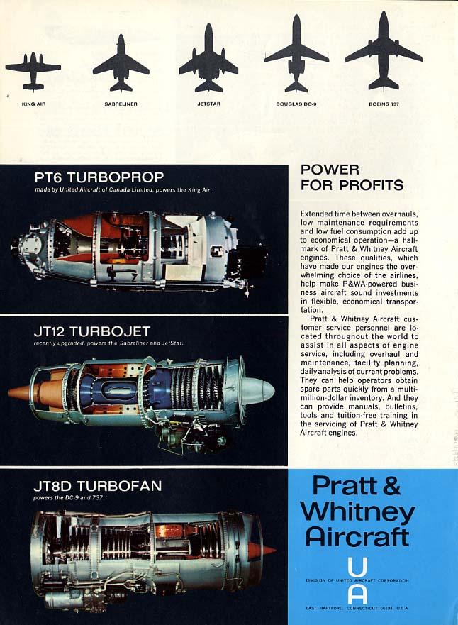 Pratt & Whitney Engines ad 1967 Beechcraft Sabreliner Jet Star DC-9 Boeing 737