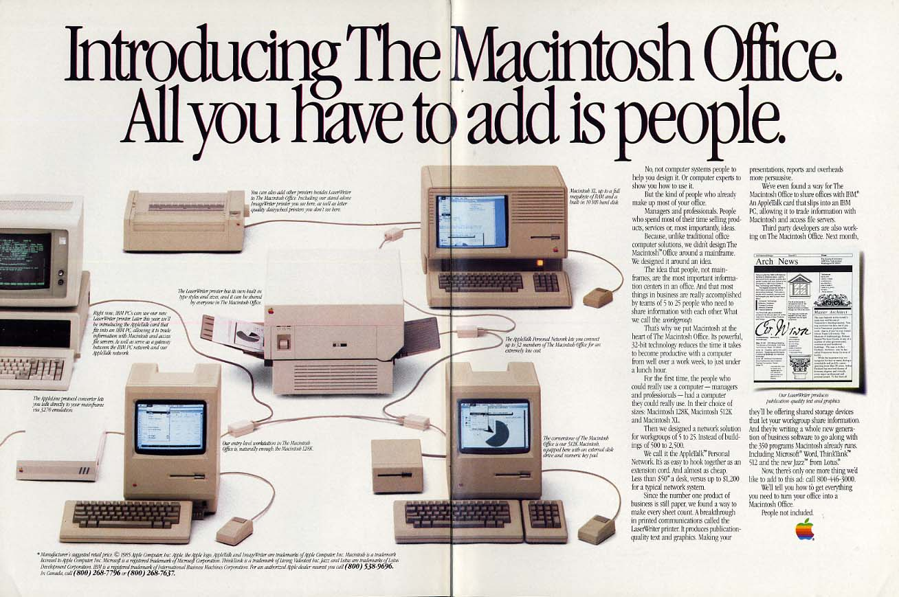 Introducing the Macintosh Office: All you add is people ad 1985 NY