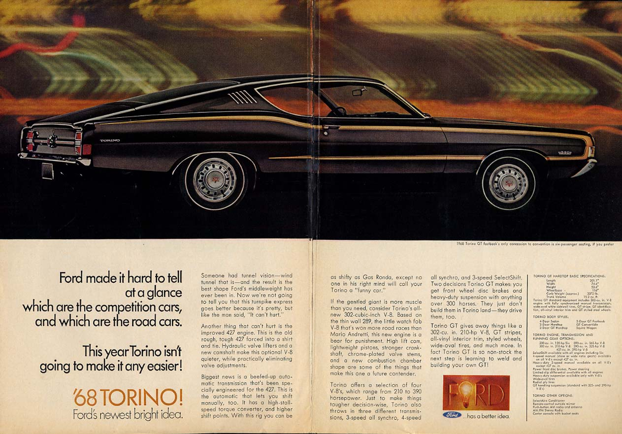 Which are competition cars which are road cars? Ford Torino GT ad 1968