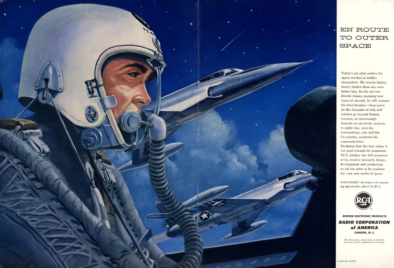 En Route to Outer Space USAF Jet Fighter Pilot - RCA ad 1956