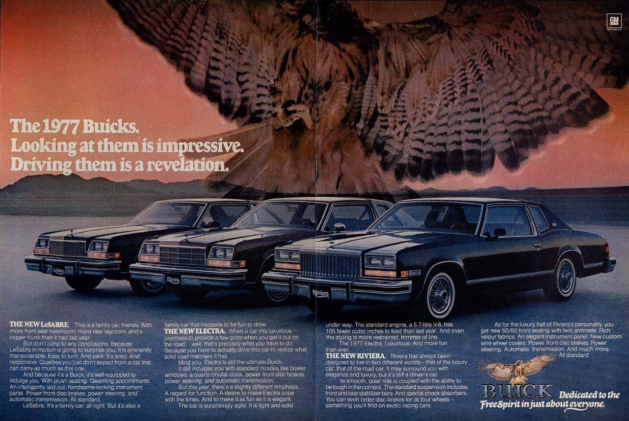 Looking is impressive Driving a revelation Buick Riviera Electra LeSabre ad 1977