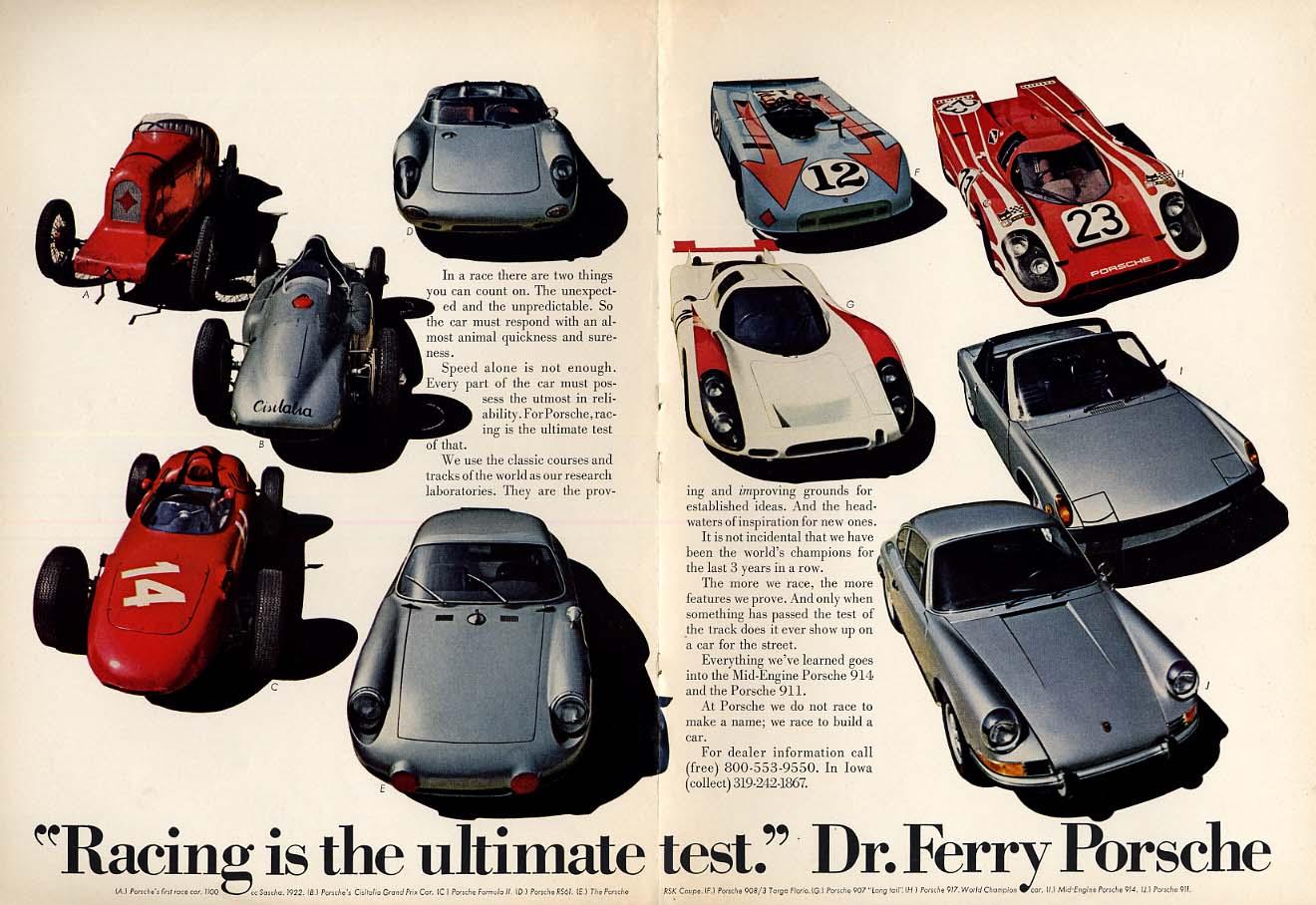 Racing is the ultimate test: Porsche 911 914 ad 1971 va