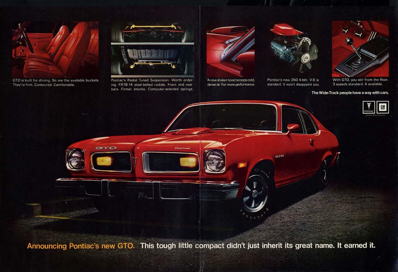 This tough little compact earned the greta name Pontiac GTO ad 1974 HR