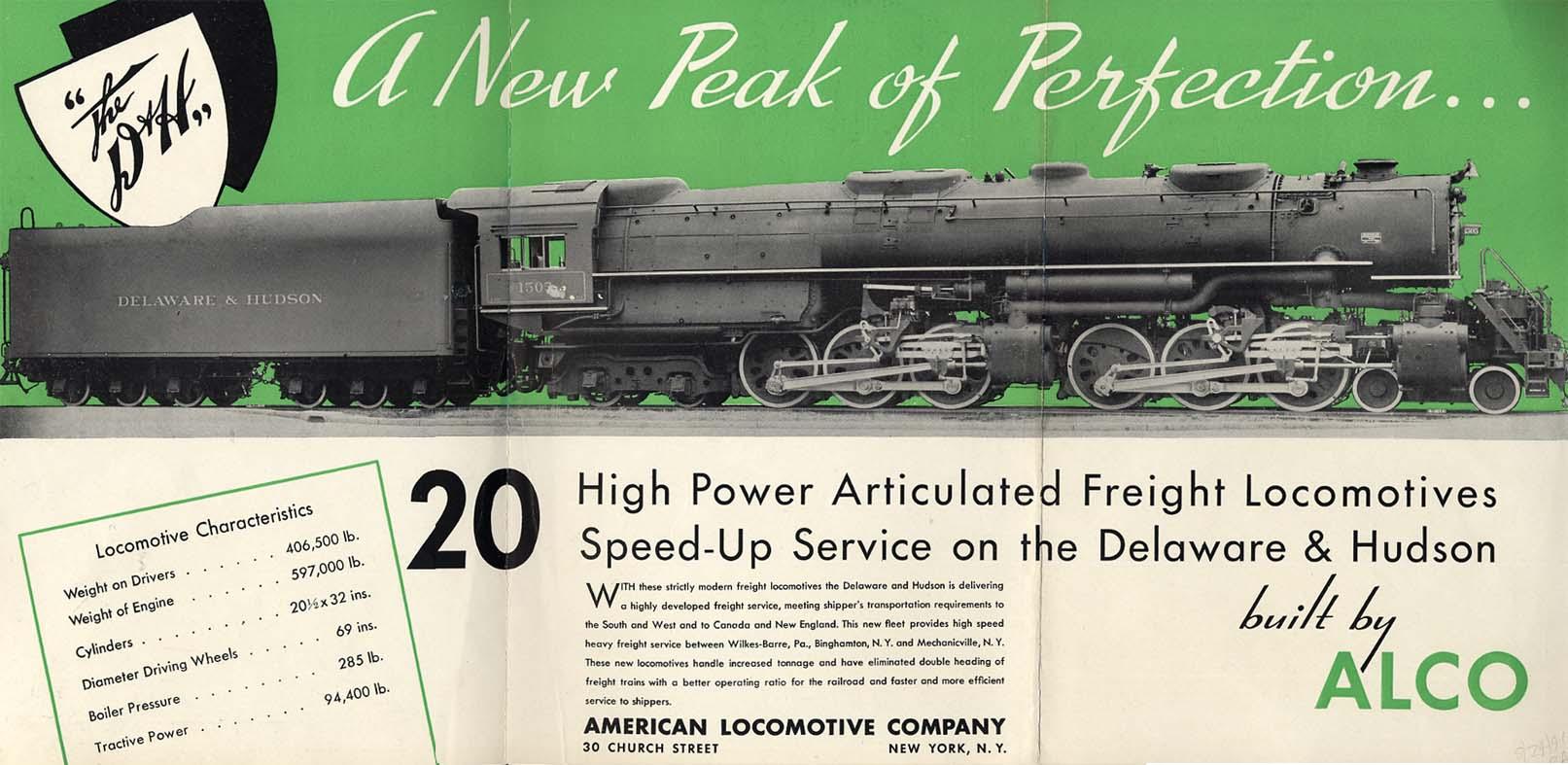 American Locomotive NY Central 4-8-2 & Delaware & Hudson 4-6-6-4 ad 1941