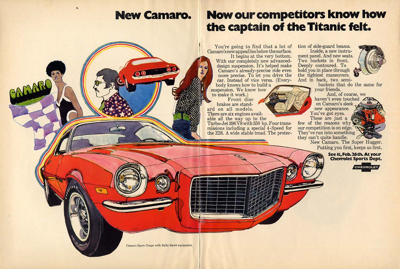 New Camaro - Corvette - what else? Ad 1970