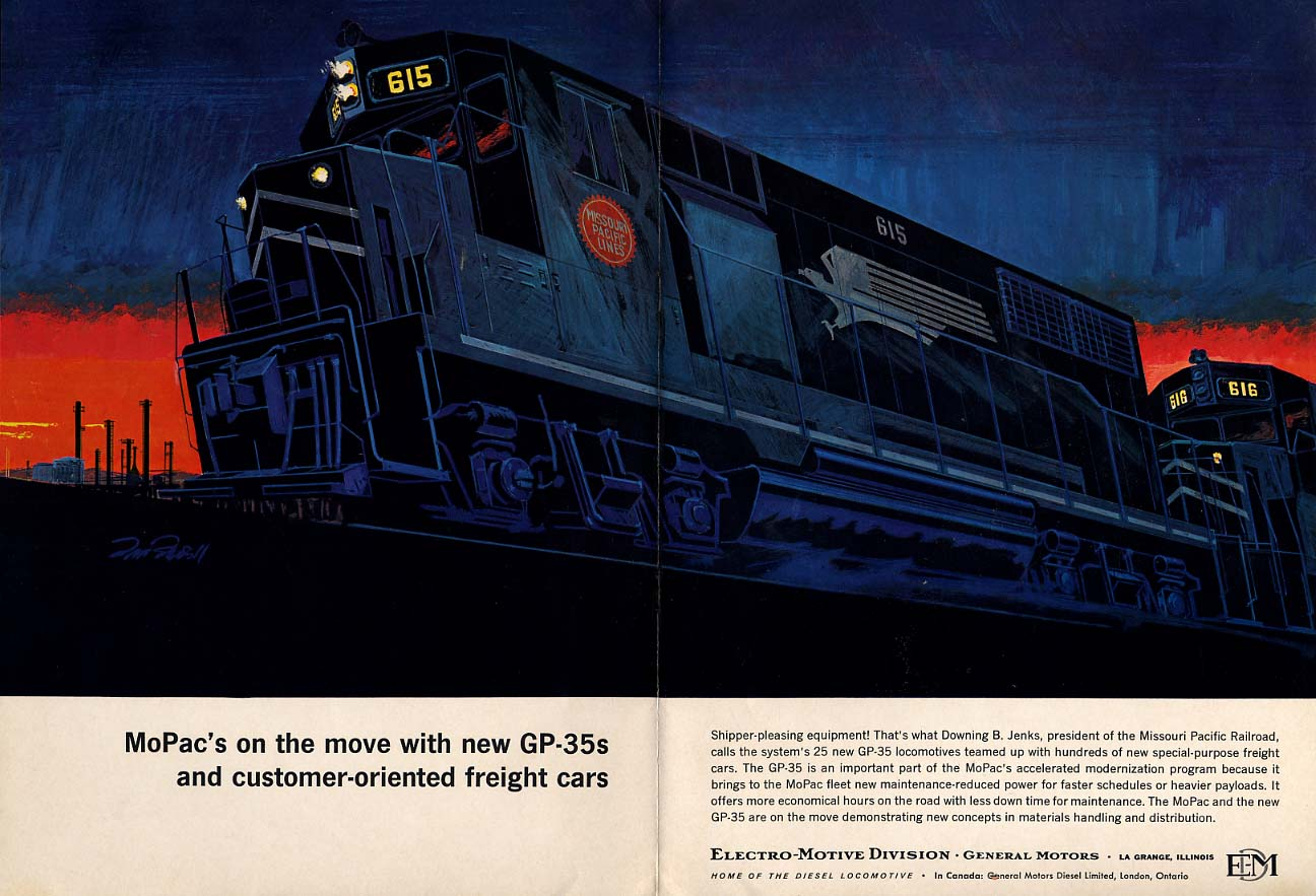 MoPac Missouri pacific RR on the move with GM EMD GP-25s ad 1964  TR