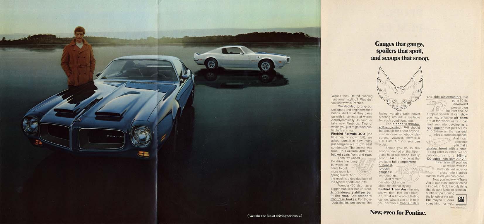 Gauges that gauge spoilers that spoil scoops that scoop Pontiac Firebird ad 1970
