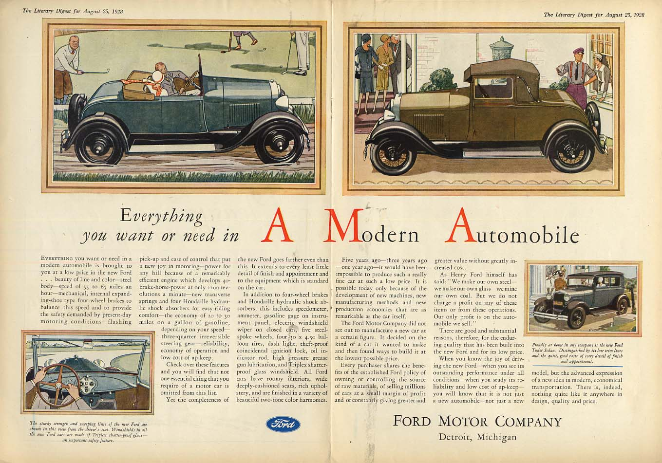 Everything you want or need in a Modern Automobile: Ford Model A ad 1928 LD
