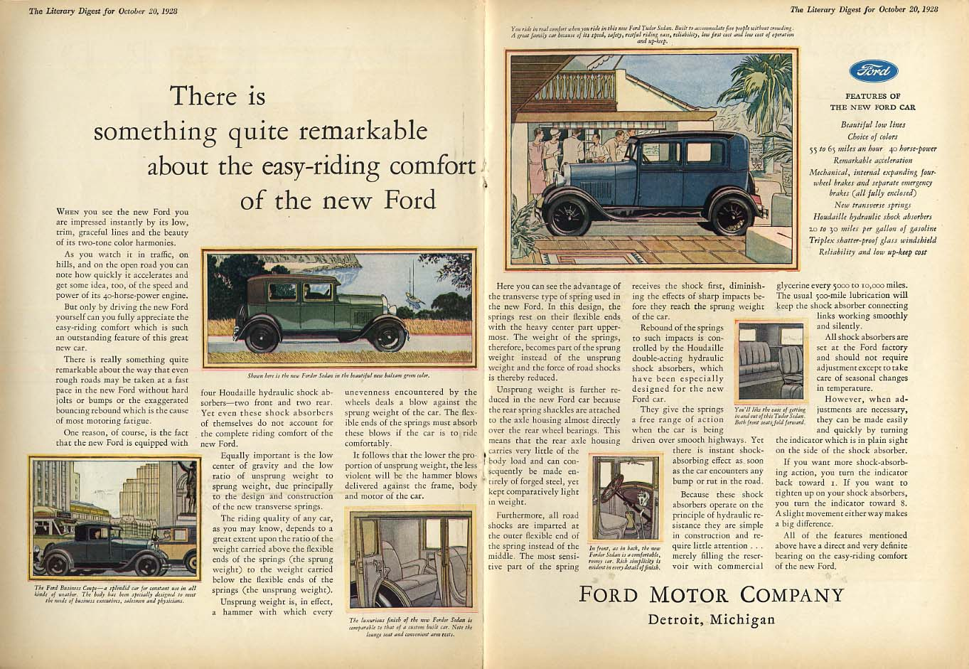 Quite remarkable easy-riding comfort Ford Model A ad 1928 LD