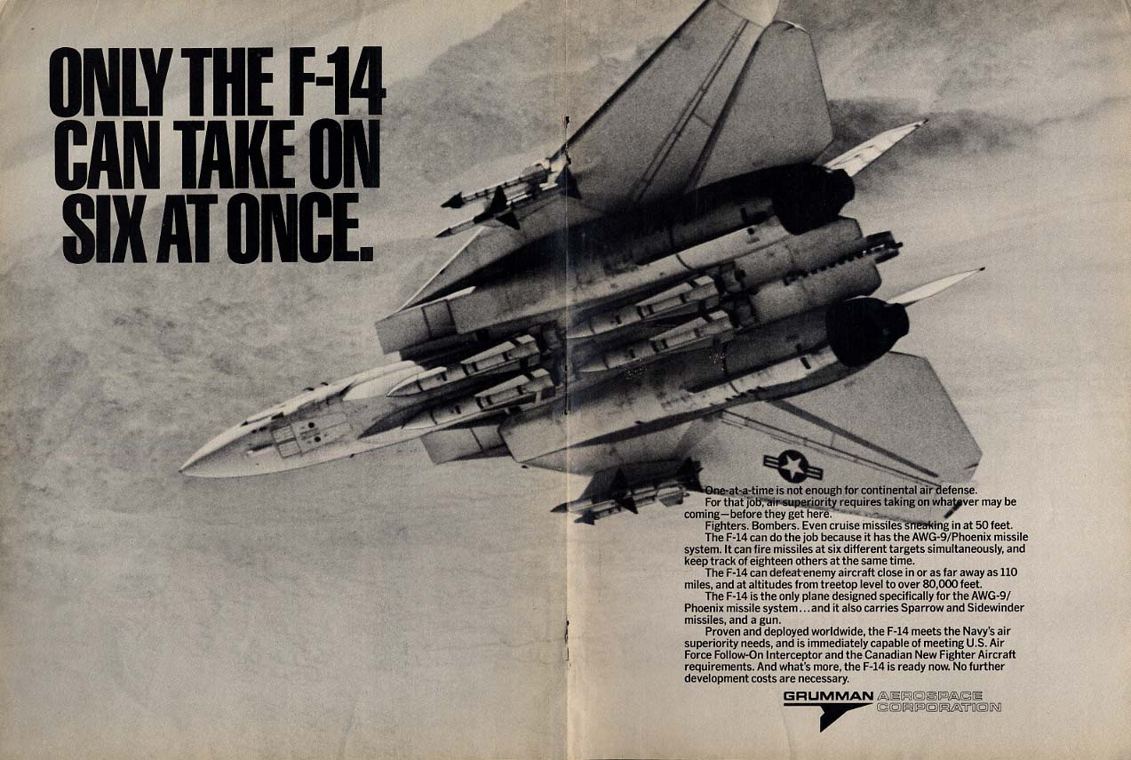 Only the Grumman F-14 Tomcat can take on six at once ad 1977 AW