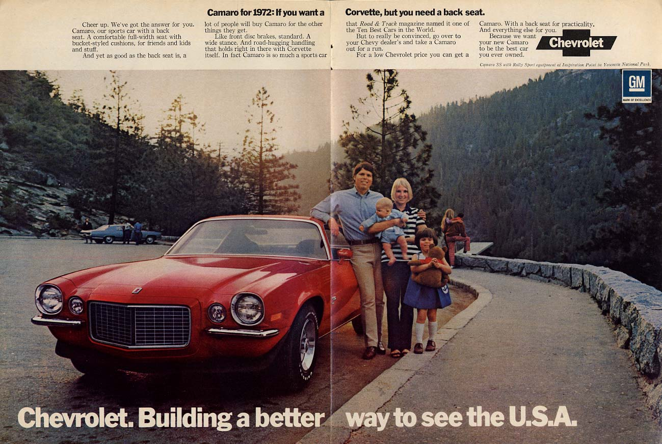 If you want a Corvette but need a back seat: Camaro ad 1972 NW