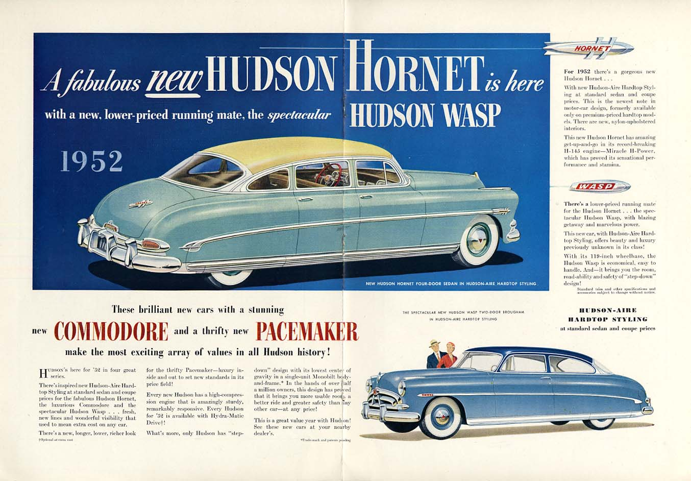A fabulous new Hudson Hornet & Wasp ad 1952 Commodore & Pacemaker