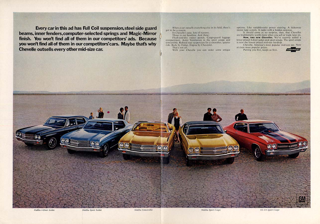 Ousells every mid-size car: Chevelle SS 454 & Malibu ad 1970