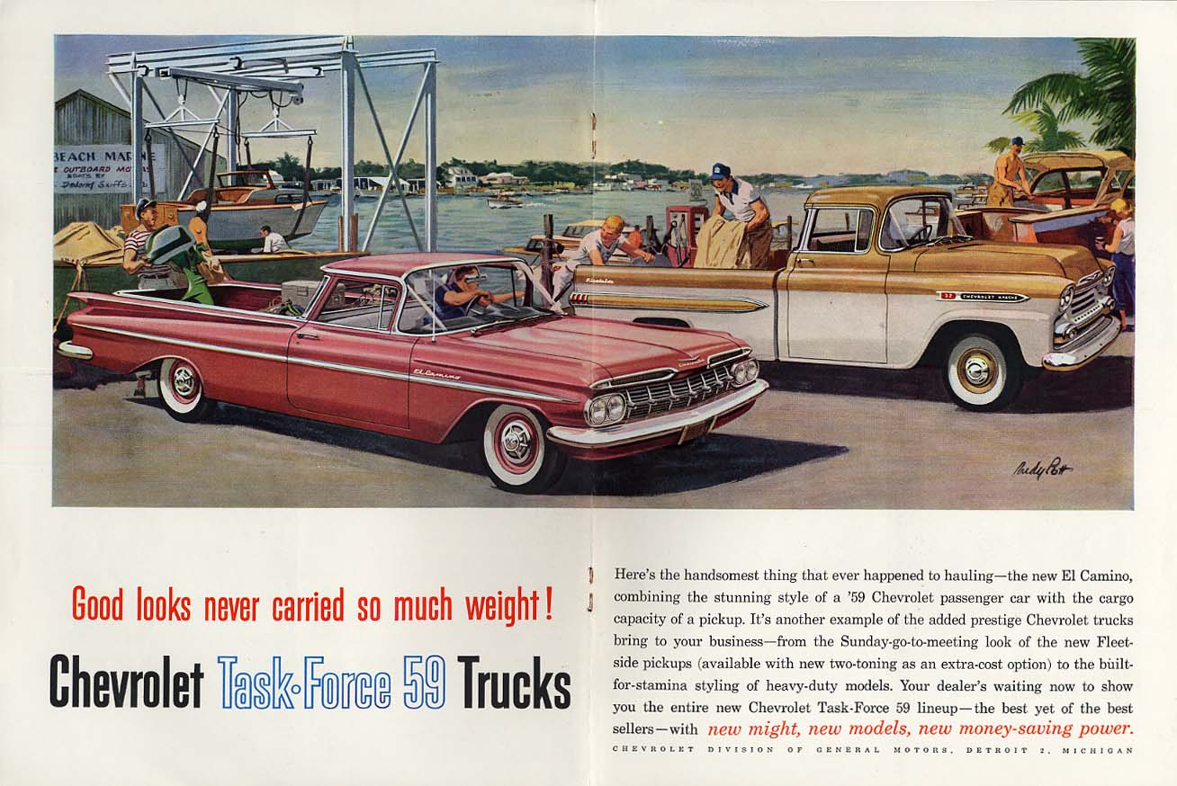 Good looks never carried so much Chevrolet El Camino & Apache Pickup ad 1959