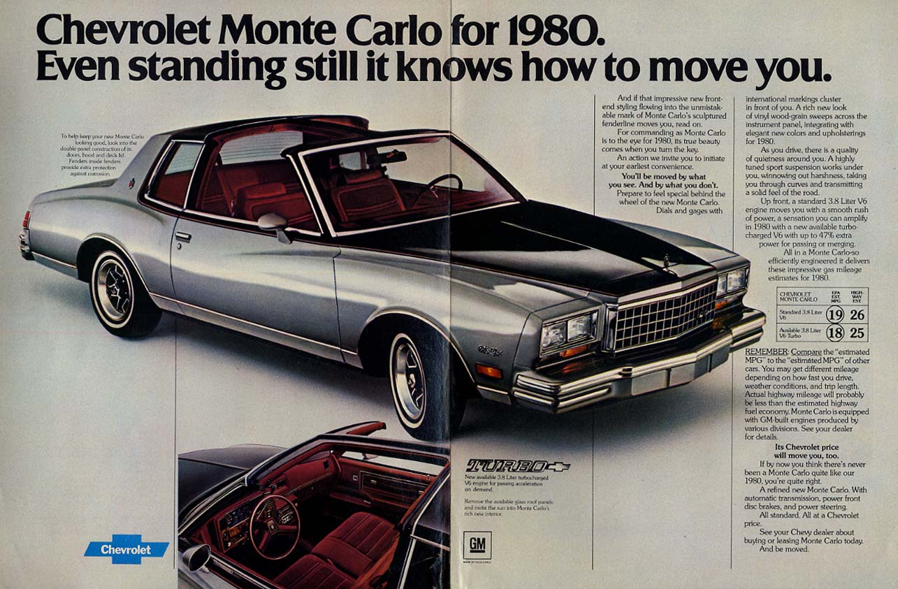 Standing still, it still moves you Chevrolet Monte Carlo ad 1980 NWK