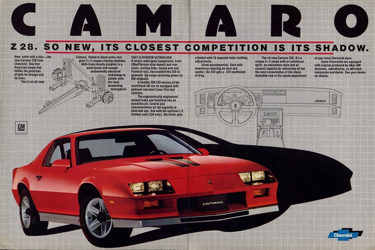 So new its closest competition is its shadow Chevrolet Camaro Z28 ad 1982