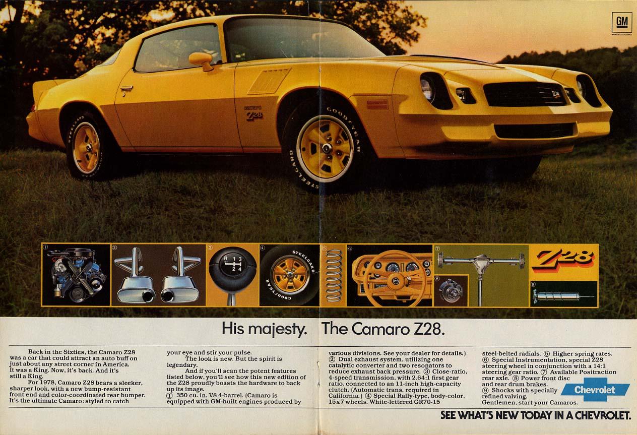 His majesty. Chevrolet Camaro Z28 ad 1978 var