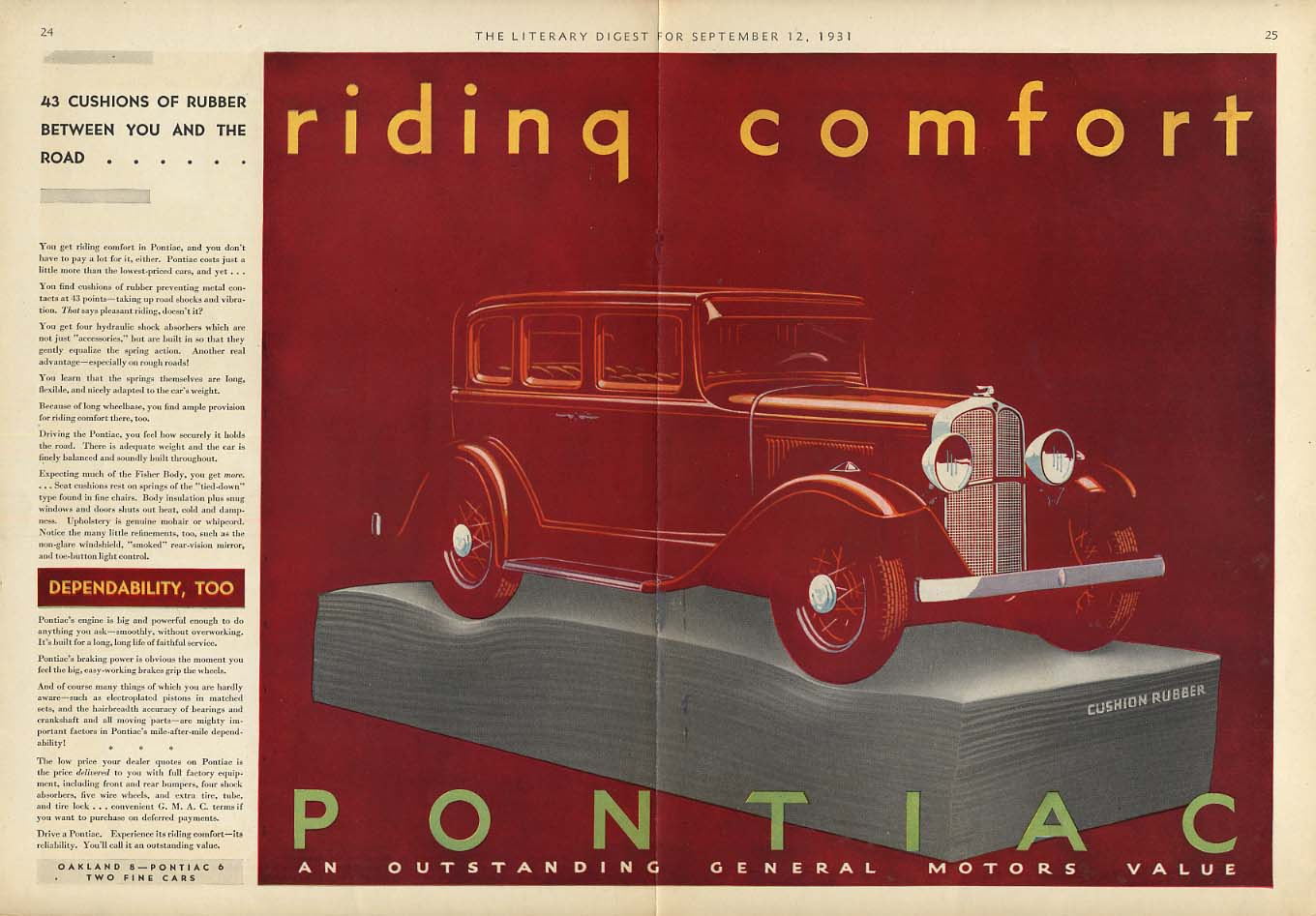 43 cusions of rubber - Riding Comfort: Pontiac 4-door sedan ad 1931 LD