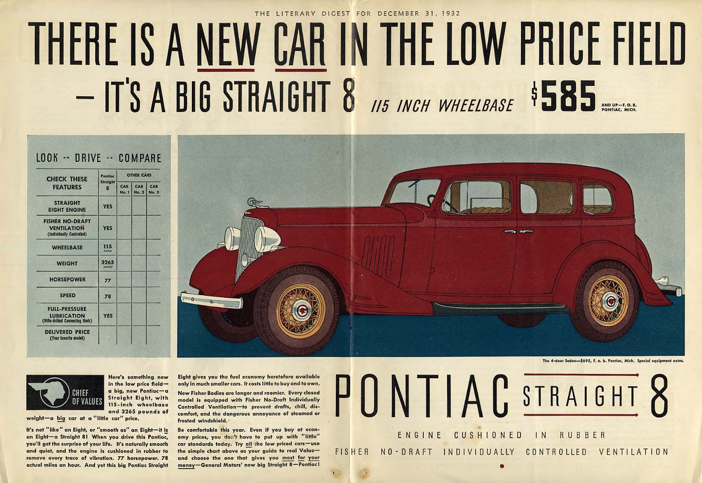 A new car in the low-price field: Pontiac Straight 8 ad 1933 LD