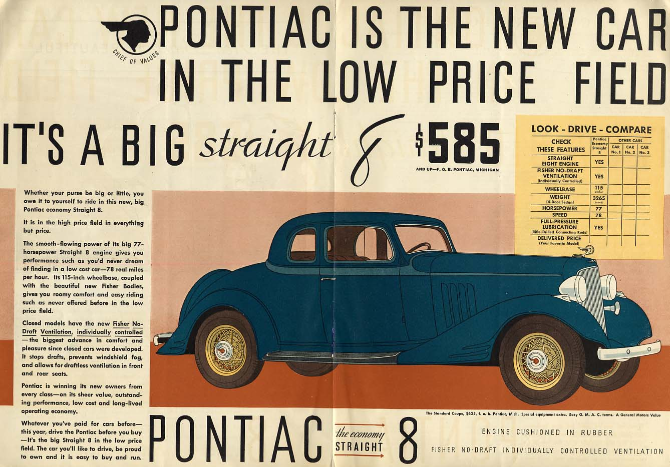 The new car in the low price field Pontiac Coupe ad 1933 LD