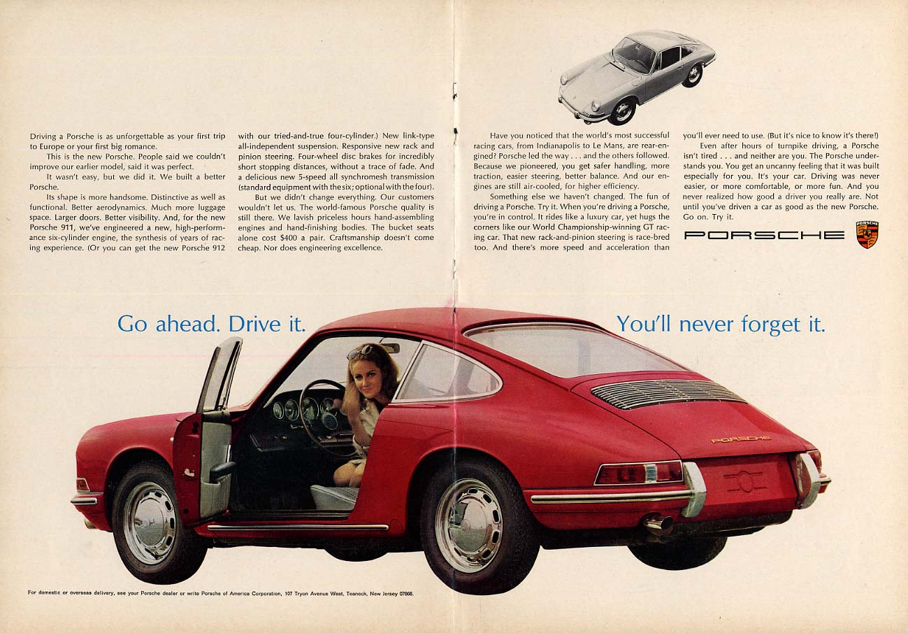 Go ahead - drive it You'll never forget it - Porsche 911 ad 1966 NY