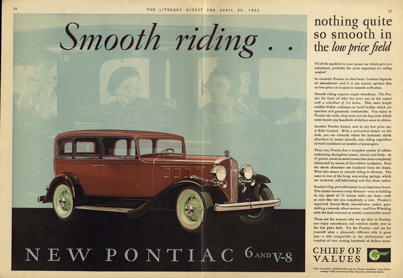 Nothing so Smooth riding in the low price field Pontiac Sedan ad 1932 LD