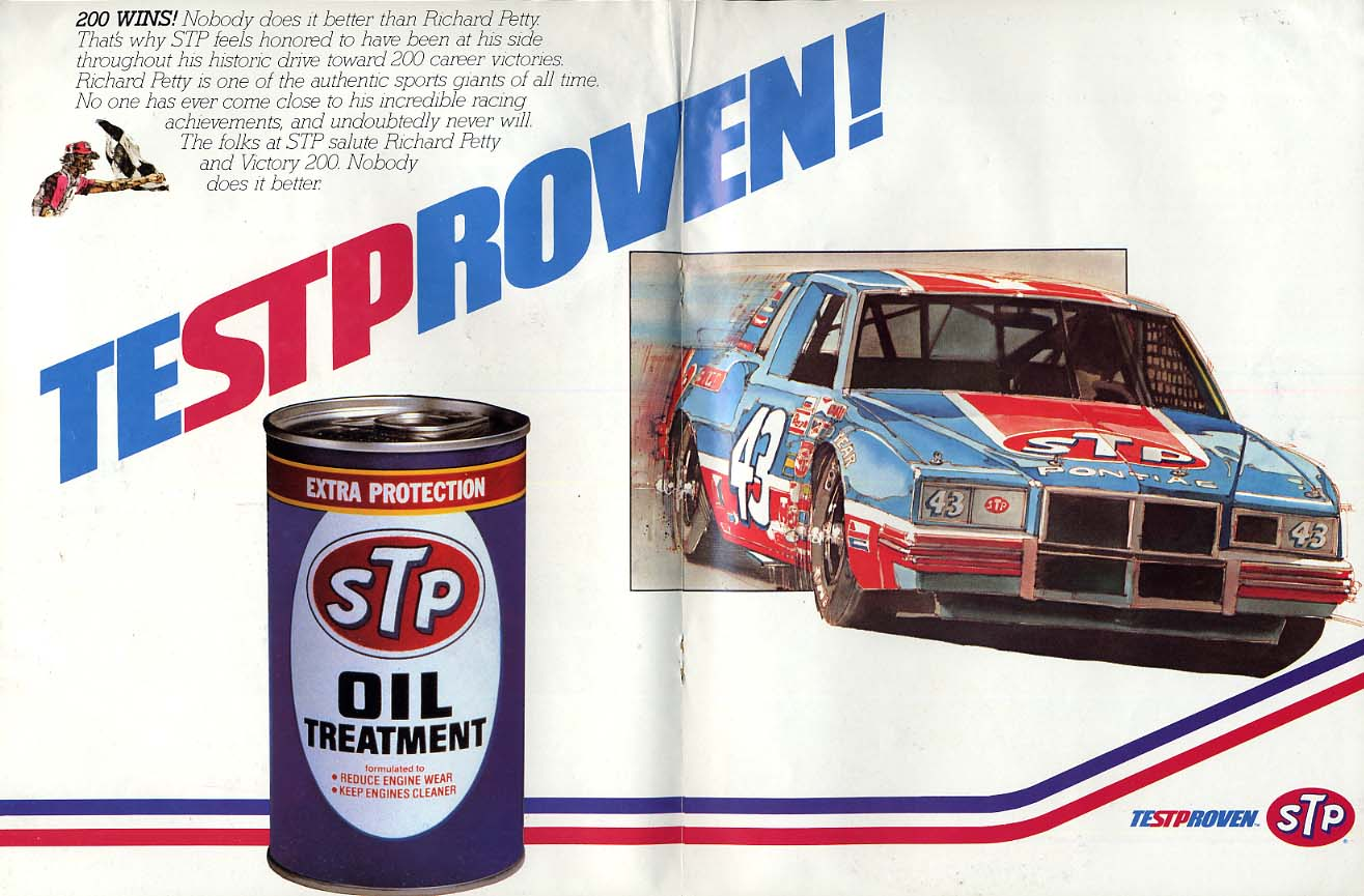 Richard Petty 200 Wins! TESTPROVEN STP NASCAR Pontiac ad 1986